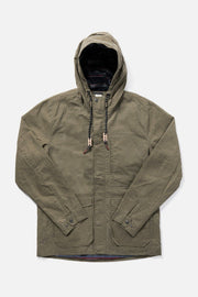 Men's Olive Hooded Waxed Canvas Rain Coat