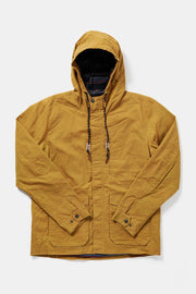 Men's Yellow Hooded Waxed Canvas Rain Coat