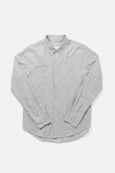 Men's Grey Checked Straight-Fit Classic Cotton Longsleeve Button-Up