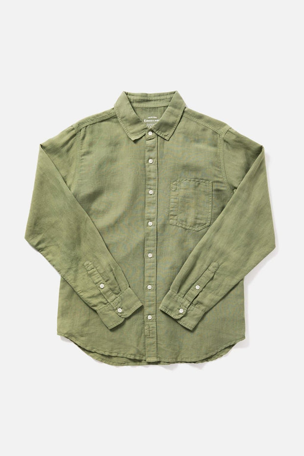 Men's Green Slim-Fit Long-Sleeve Button-Up  Shirt