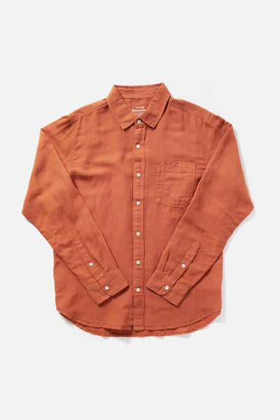 Men's Orange Slim-Fit Long-Sleeve Button-Up  Shirt