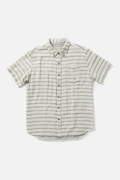 Men's White-Blue Striped Cotton Button-Up Short-Sleeve Shirt