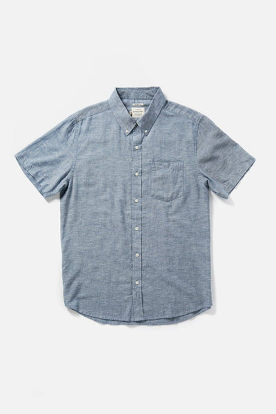 Men's Blue Chambray Button-Up Short-Sleeve Shirt