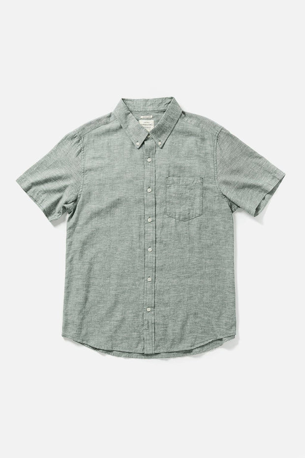 Men's Green Chambray Slim Button-Up Short-Sleeve Shirt