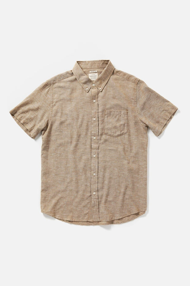 Men's Bronze Chambray Slim Button-Up Short-Sleeve Shirt