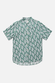 Men's Drapey Green Paisley Print Short-Sleeve Button-Up Shirt