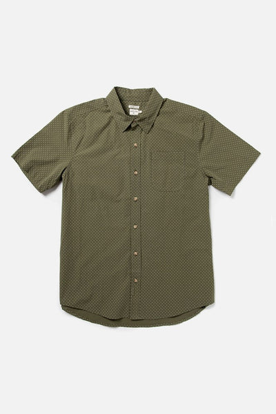 Men's Short Sleeve Green Button-Up