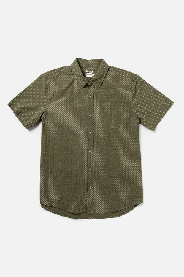 Men's Olive Polkadot Slim Short-Sleeve Button-Up Shirt
