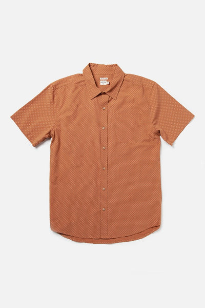 Men's Short Sleeve Orange Polkadot Button-Up