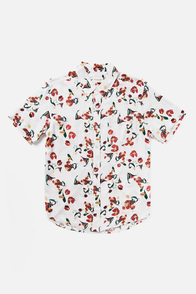 Men's Drapey Floral Printed Short-Sleeve Button-Up Shirt