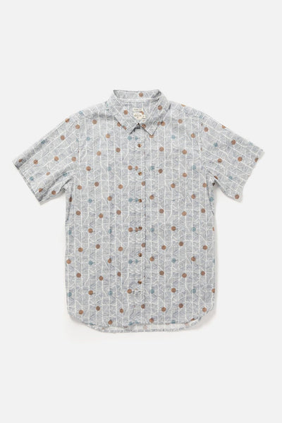 Men's Geometric Patterned Slim Short-Sleeve Button-Up Shirt