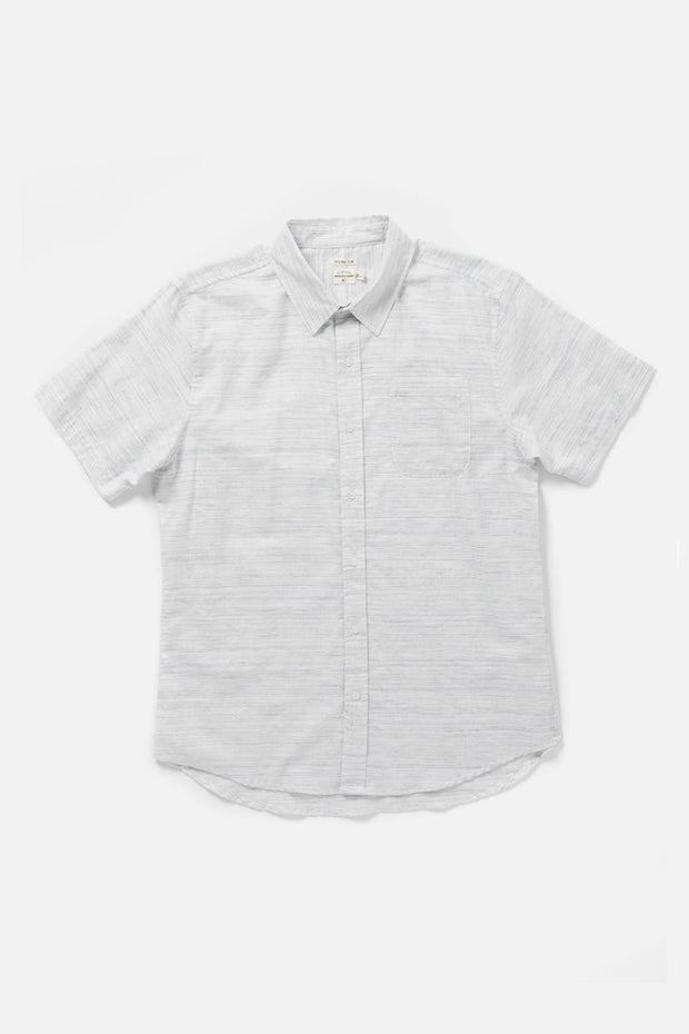 Men's White Heathered Slim Short-Sleeve Button-Up Shirt