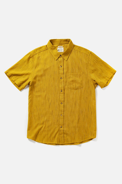Men's Yellow Slim Short-Sleeve Button-Up Shirt