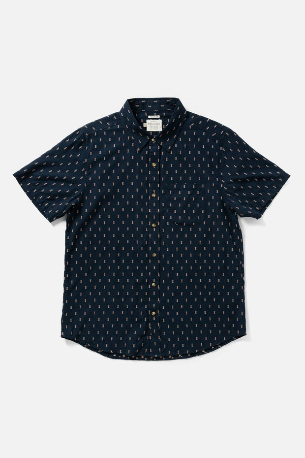 Men's Navy Patterned Slim Short-Sleeve Button-Up Shirt