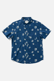 Men's Blue Floral Printed Short-Sleeve Button-Up Shirt