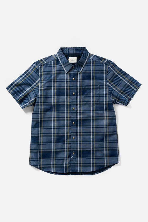 Men's Navy Plaid Slim Short-Sleeve Button-Up Shirt