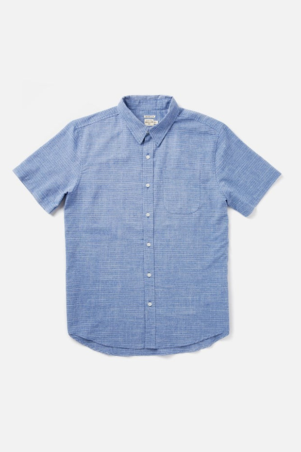 Men's Blue Pinstripe Slim Short-Sleeve Button-Up Shirt