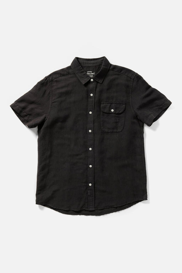 Men's Charcoal Cotton Short-Sleeve Button-Up Shirt