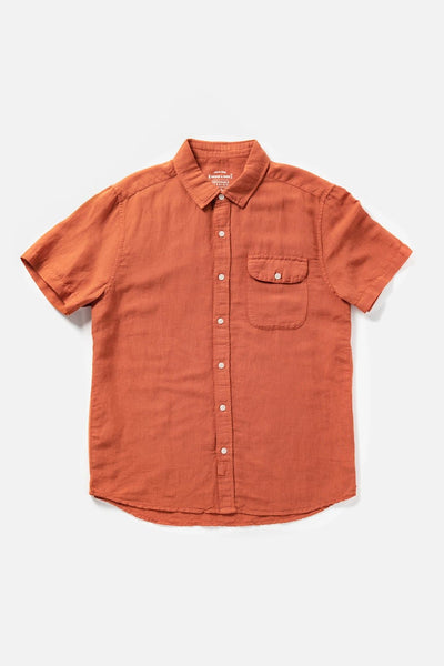 Men's Orange Cotton Short-Sleeve Button-Up Shirt