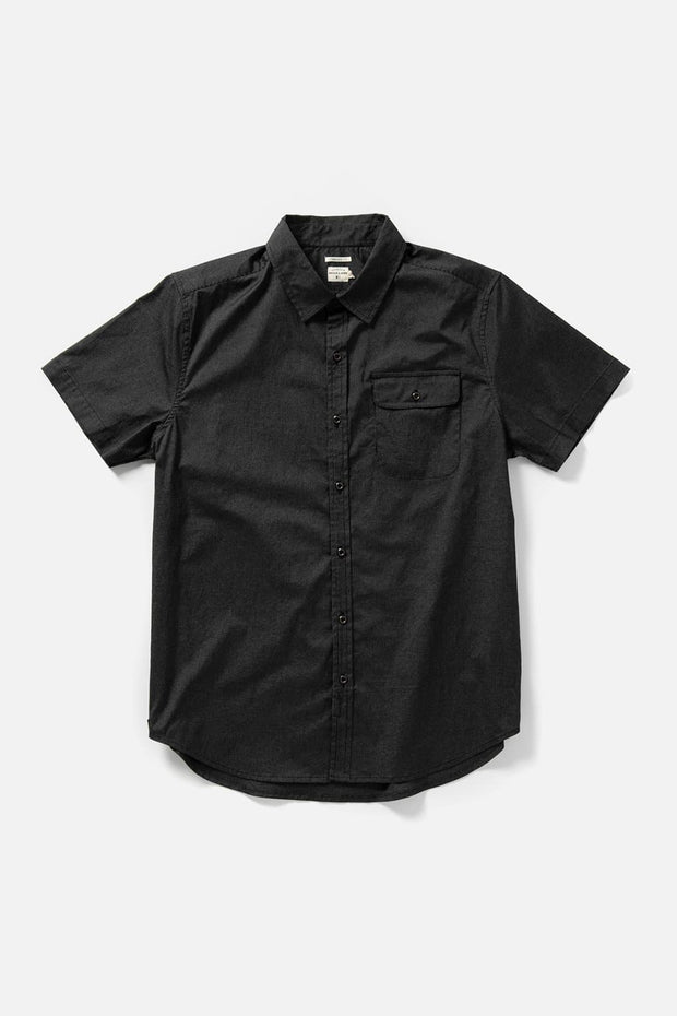 Men's Black Pinstripe Short-Sleeve Button-Up Shirt