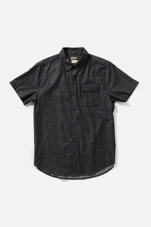 Men's Charcoal Polkadot Cotton Short-Sleeve Button-Up Shirt