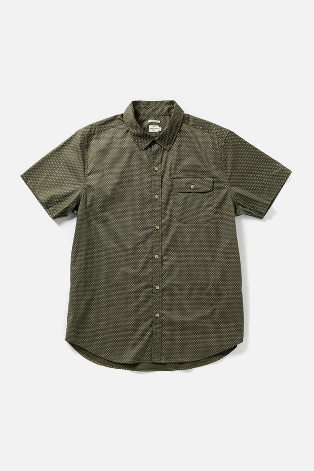 Men's Green Polkadot Cotton Short-Sleeve Button-Up Shirt