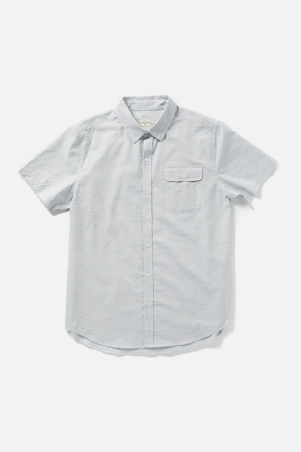 Men's Light Grey Checked Cotton Short-Sleeve Button-Up Shirt
