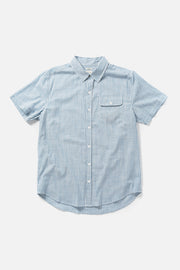 Men's Blue-White Striped Cotton Short-Sleeve Button-Up Shirt