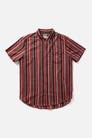 Men's Short Sleeve Burgundy Striped  Button-Up