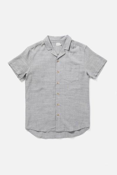 Men's Short Sleeve Light Grey Button-Up