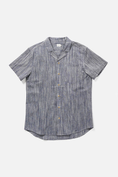 Men's Short Sleeve Heathered Navy Button-Up