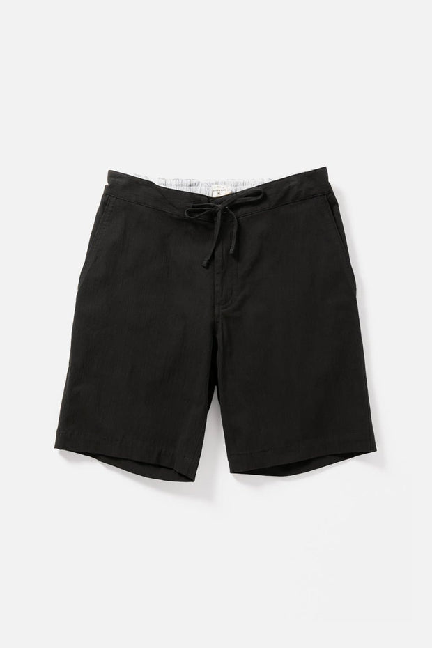Men's Black Relaxed Cotton Drawstring Shorts