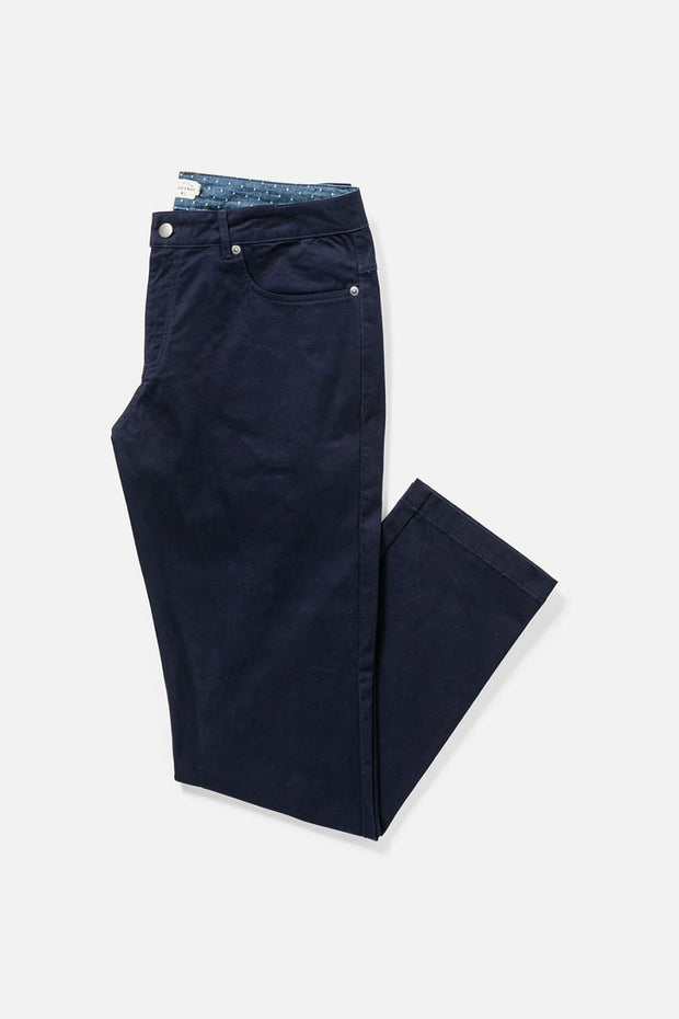 Men's Navy Straight-Fit Cotton Chino Pants