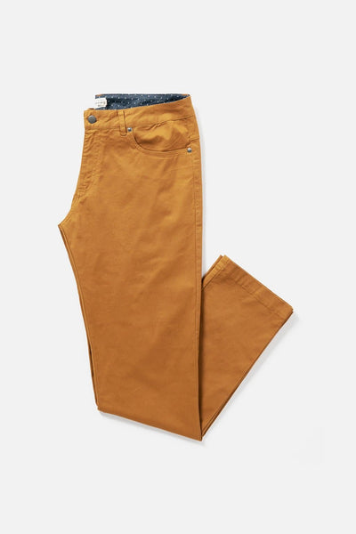 Men's Tan Straight-Fit Cotton Chino Pants