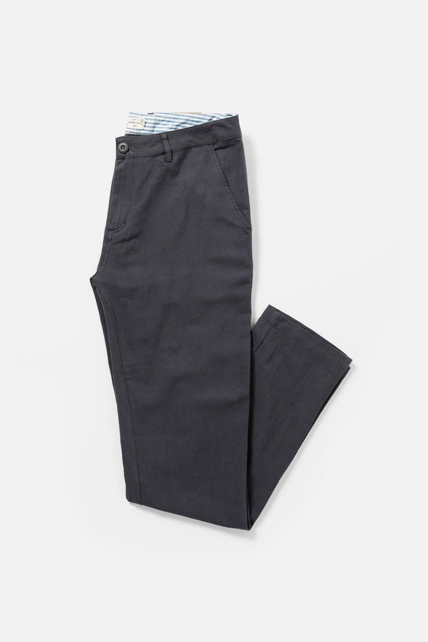 Men's Charcoal Relaxed Fit Cotton Linen Chino Pants