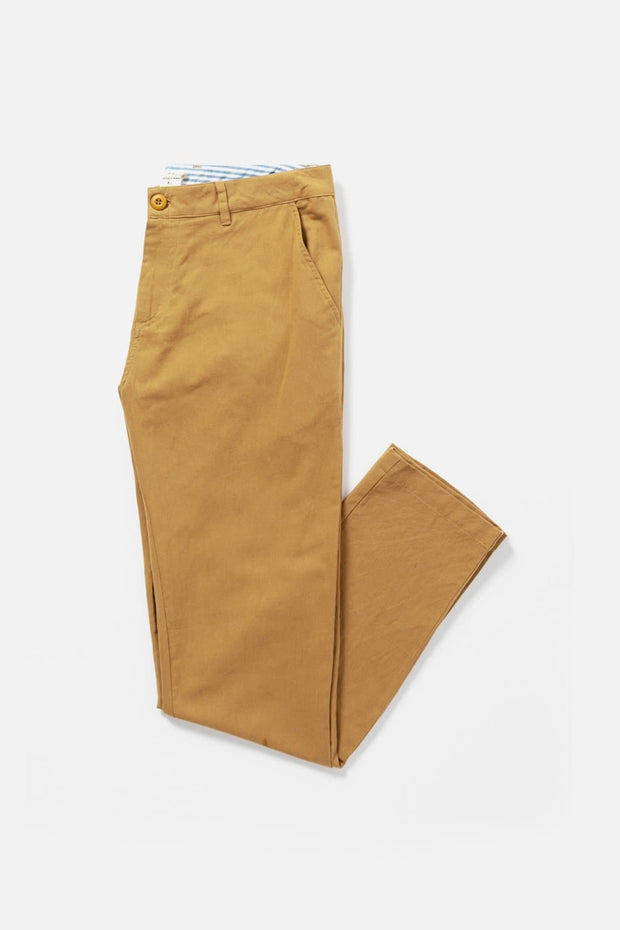 Men's Tan Relaxed Fit Cotton Linen Chino Pants