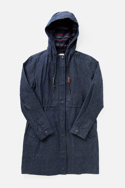 Women's Denim Hooded Waxed Canvas Rain Coat
