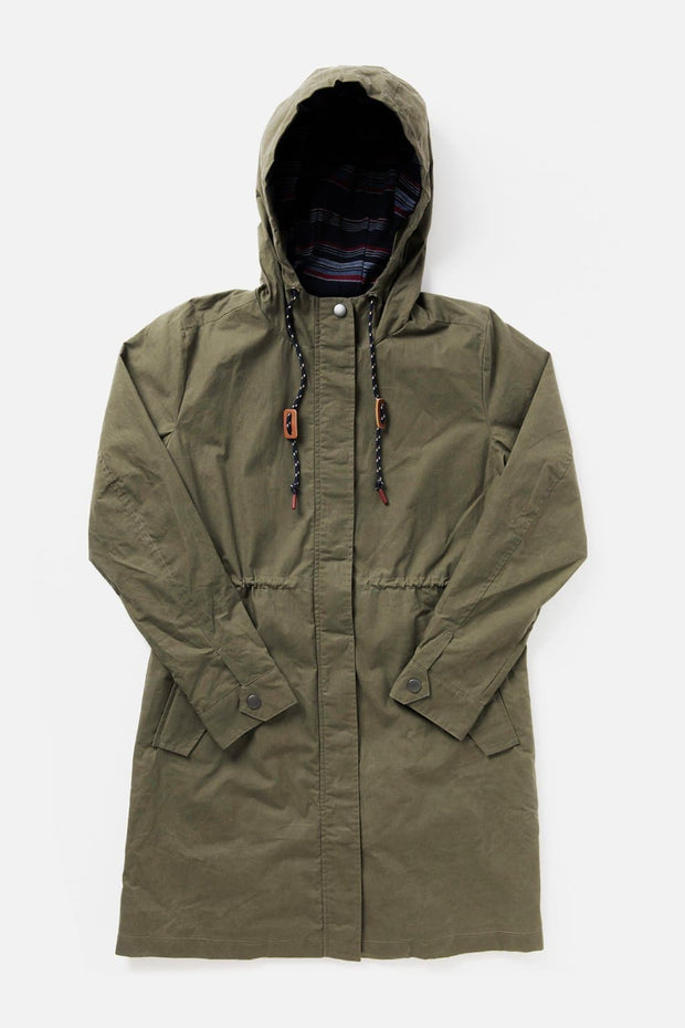 Women's Olive Hooded Waxed Canvas Rain Coat
