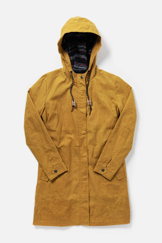 Women's Mustard Hooded Waxed Canvas Rain Coat