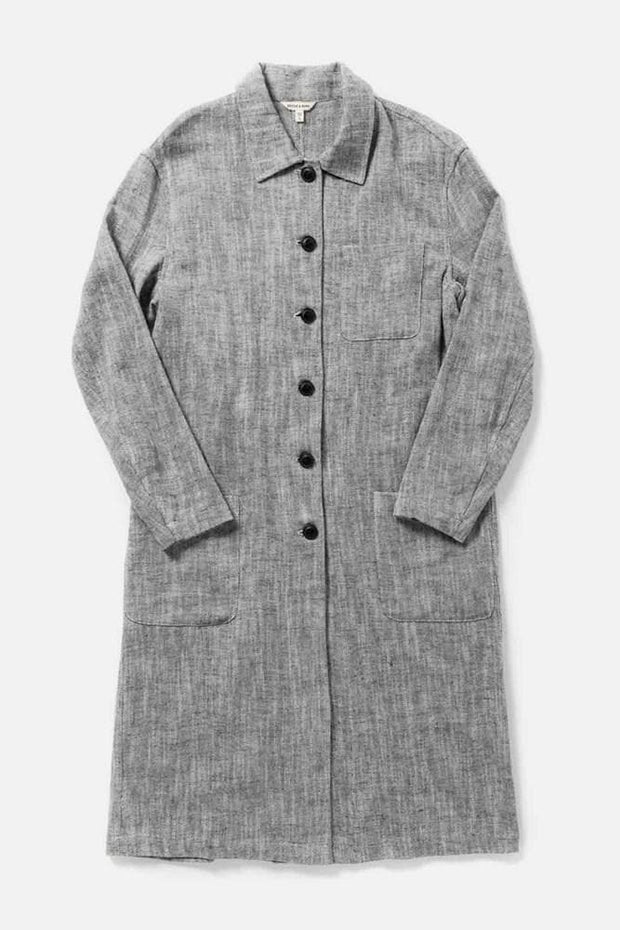 Women's Grey Linen Blend Trench Coat