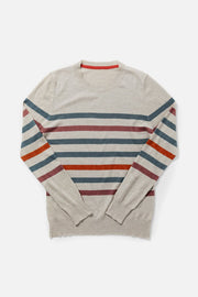 Women's Cream Striped Crewneck Lightweight Sweater