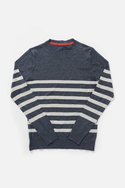 Women's Navy Striped Crewneck Lightweight Sweater