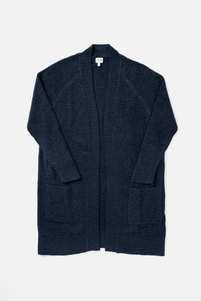 Women's Cozy Navy Cotton and Linen Cardigan