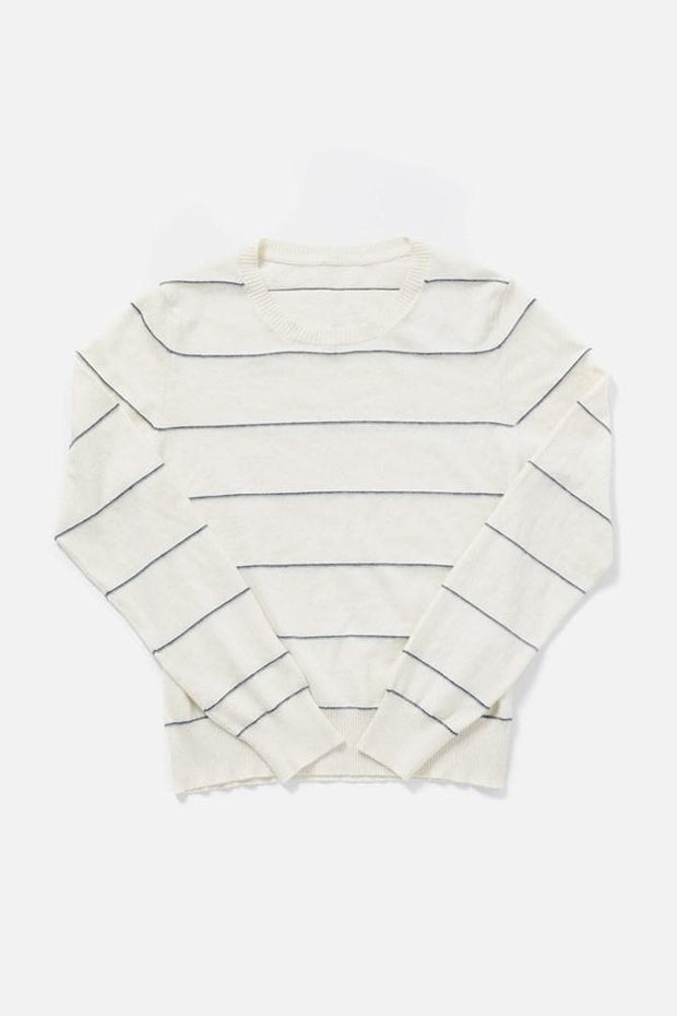 Women's Cream Cashmere Blend Striped Cropped Sweater