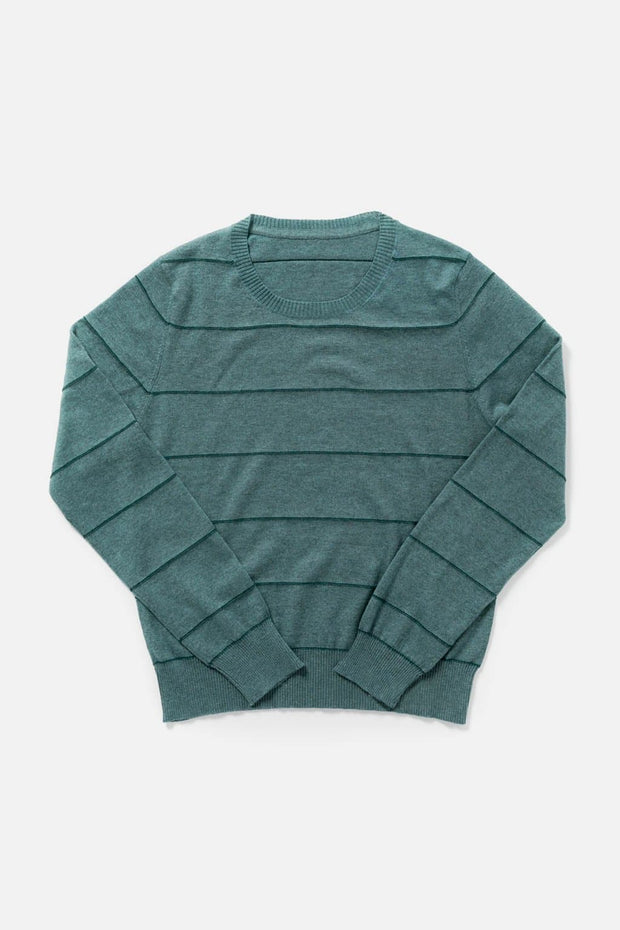 Women's Green Cashmere Blend Striped Cropped Sweater