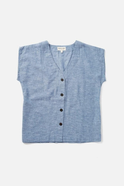 Women's Denim Blue Cotton Blend Button-Front Short-Sleeve Top