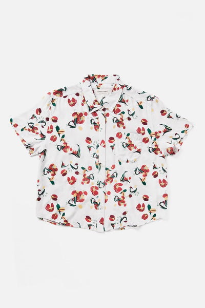 Women's Floral Print Modal Cropped Button Up Short Sleeve Top