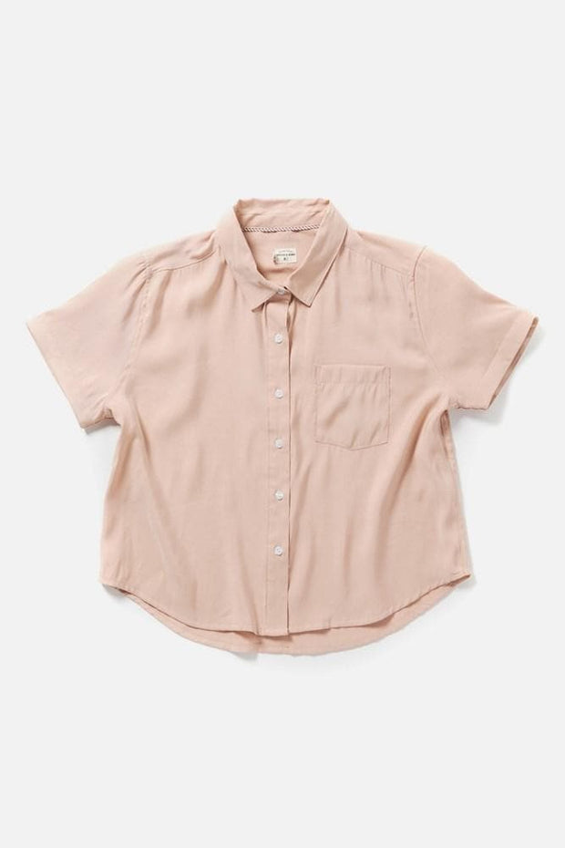 Women's Modal Blend Pink Collared Short-Sleeve Top