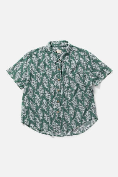 Women's Rayon Green Paisley Cropped Button Up Short Sleeve