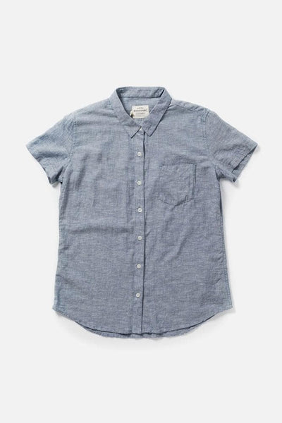 Women's Denim Chambray Straight Fit Button-Up Short-Sleeve Shirt